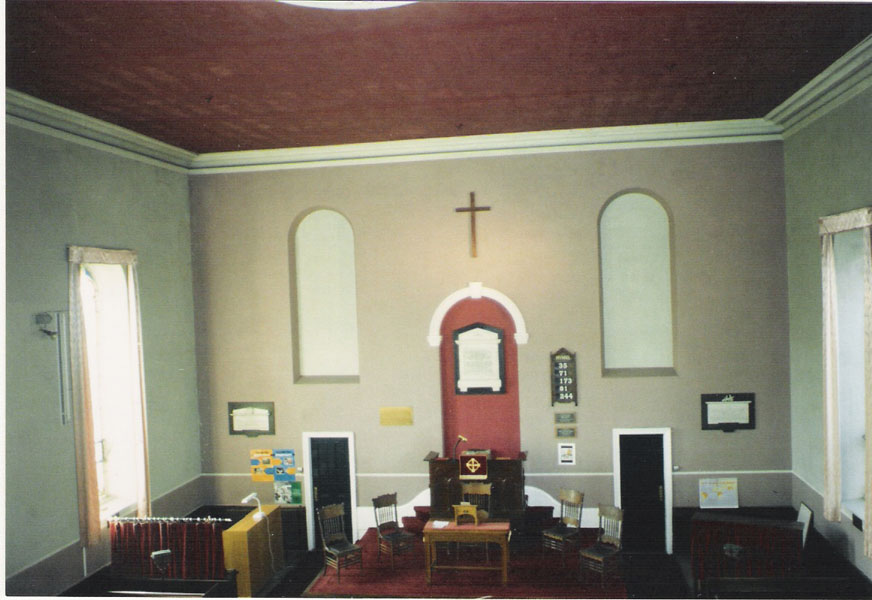 The Church interior c.1988, shortly before the 1989 redecoration to a blue colour scheme.