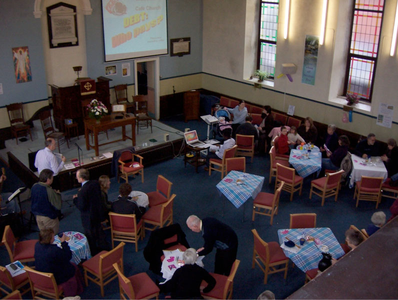 Typical 'Café Church' , these services being held approx six times per year.