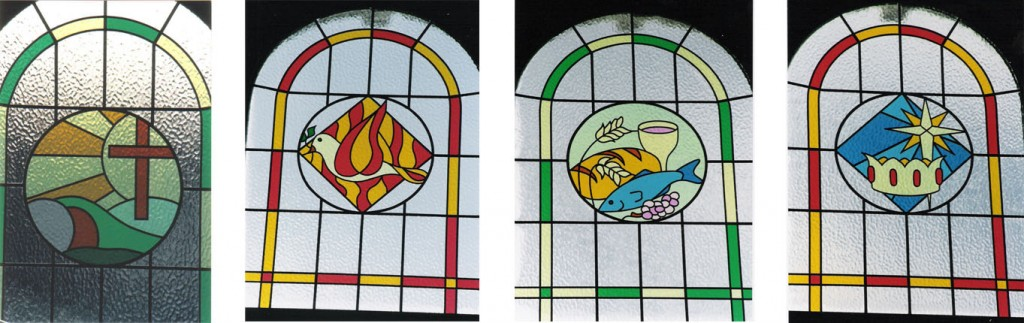 The designs for the new windows based on 4 significant events in the Church calendar: Easter, Pentecost, Harvest & Christmas